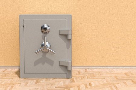Safe box with combination lock on the floor in the room, 3D rendering Reklamní fotografie