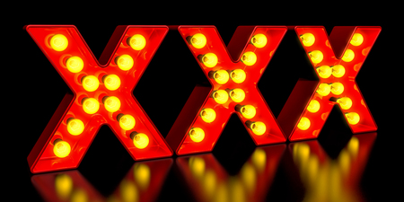 XXX signboard from golden light bulb letters, retro glowing font. 3D rendering Stock Photo