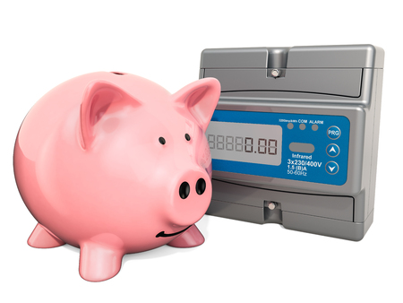 Piggy bank with electric meter. Saving energy consumption concept, 3D rendering isolated on white background Banque d'images - 121519577