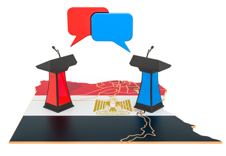 Egyptian Debate concept, 3D rendering isolated on white background