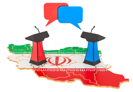 Iranian Debate concept, 3D rendering isolated on white background 스톡 콘텐츠