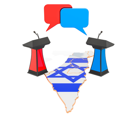 Israeli Debate concept, 3D rendering isolated on white background Banque d'images
