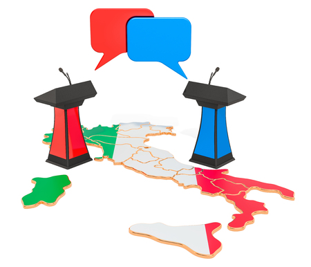 Italian Debate concept, 3D rendering isolated on white background