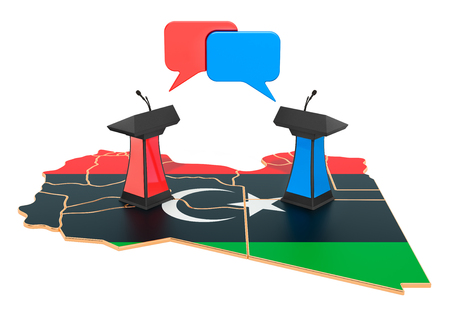 Libyan Debate concept, 3D rendering isolated on white background