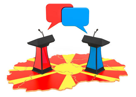 Macedonian Debate concept, 3D rendering isolated on white background 스톡 콘텐츠