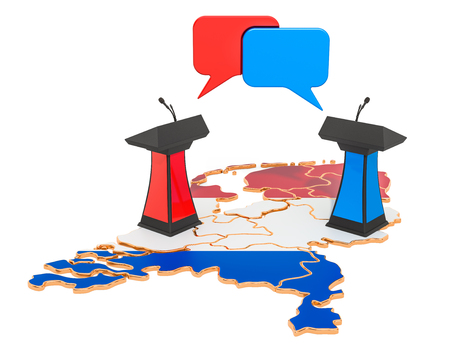 Netherlands Debate concept, 3D rendering isolated on white background 스톡 콘텐츠