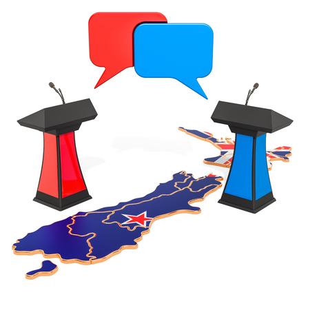 New Zeland Debate concept, 3D rendering isolated on white background Archivio Fotografico - 121747196