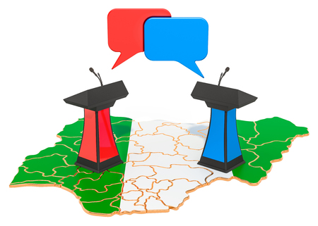Nigerian Debate concept, 3D rendering isolated on white background Stock Photo