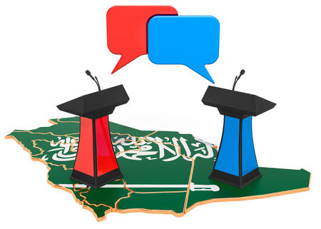 Saudi Arabia Debate concept, 3D rendering isolated on white background