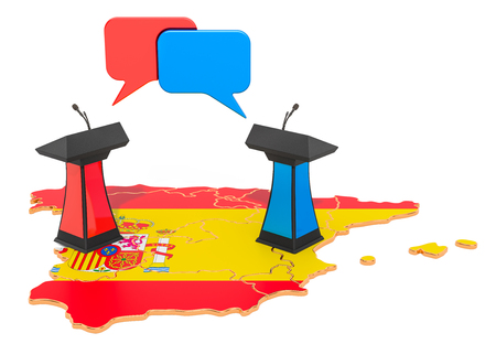 Spanish Debate concept, 3D rendering isolated on white background 스톡 콘텐츠