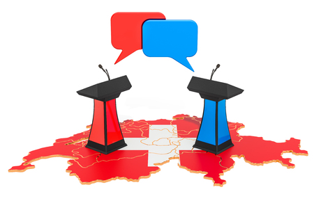 Swiss Debate concept, 3D rendering isolated on white background 스톡 콘텐츠