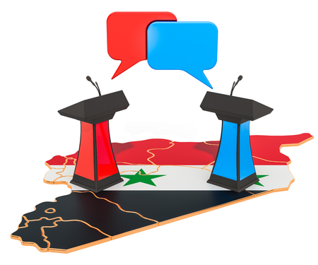 Syrian Debate concept, 3D rendering isolated on white background 스톡 콘텐츠