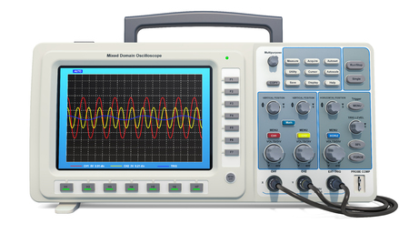 Oscilloscope, 3D rendering isolated on white background