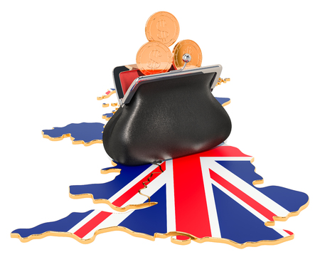 Banking, investment or financial concept in the Great Britain. 3D rendering isolated on white background Foto de archivo