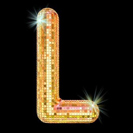Disco font, letter L from golden glitter mirror facets. 3D rendering isolated on black background