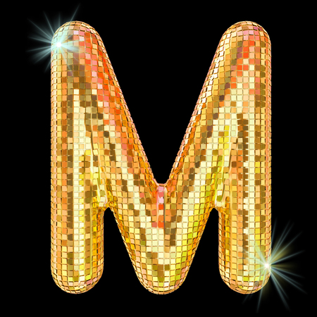 Disco font, letter M from golden glitter mirror facets. 3D rendering isolated on black background