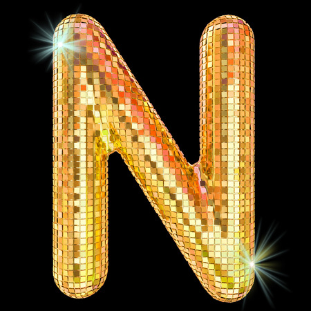 Disco font, letter N from golden glitter mirror facets. 3D rendering isolated on black background