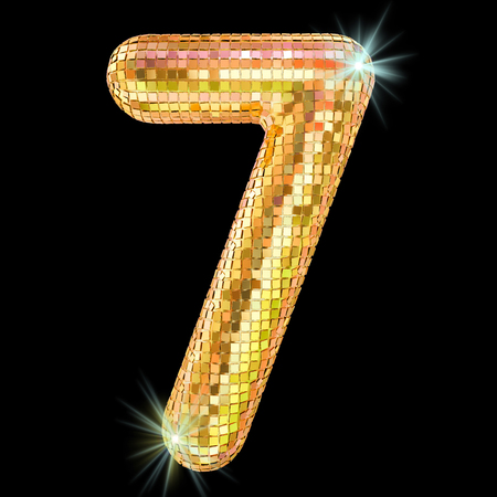 Disco font, number 7 from golden glitter mirror facets. 3D rendering isolated on black background
