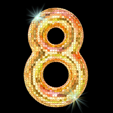 Disco font, number 8 from golden glitter mirror facets. 3D rendering isolated on black background Banque d'images