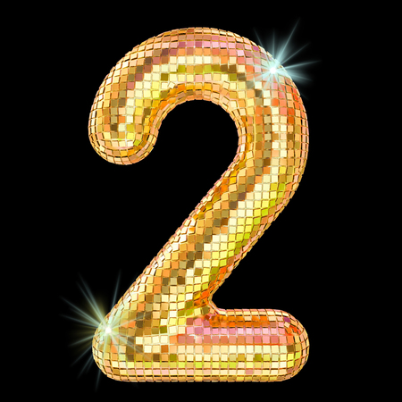 Disco font, number 2 from golden glitter mirror facets. 3D rendering isolated on black background