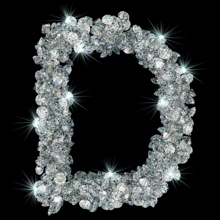 Letter D from diamonds. 3D rendering isolated on black background Stock fotó
