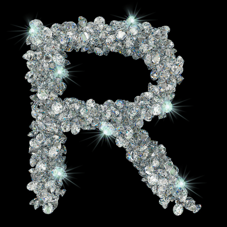 Letter R from diamonds. 3D rendering isolated on black background Stock fotó