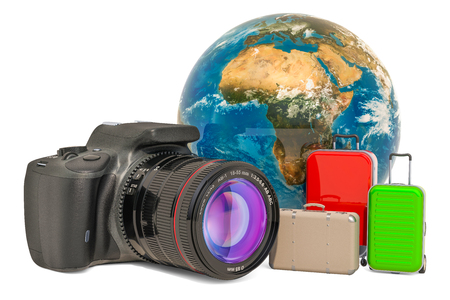 Travel concept with digital single-lens reflex camera, 3D rendering isolated on white background