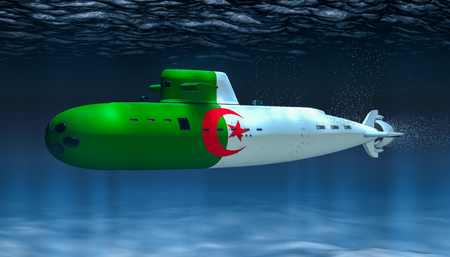 Submarine of Algiers Navy, concept. 3D rendering