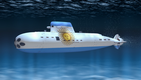 Submarine of Argentinean Navy, concept. 3D rendering