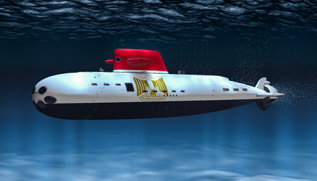 Submarine of Egyptian Navy, concept. 3D rendering