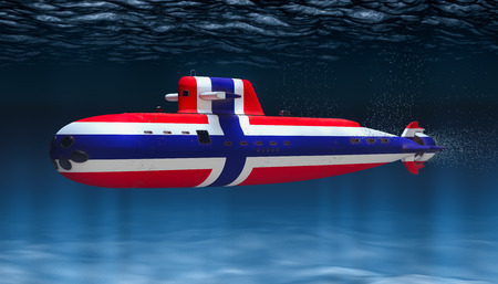 Submarine of Norwegian Navy, concept. 3D rendering