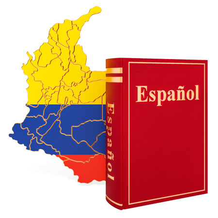 Spanish language book with map of Columbia, 3D rendering isolated on white background Фото со стока