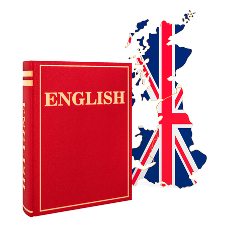 English language book with map of Britain, 3D rendering isolated on white background