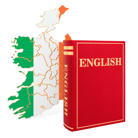 English language book with map of Ireland, 3D rendering isolated on white background