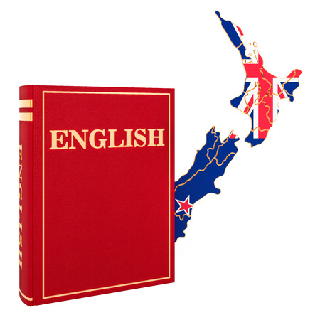 English language book with map of New Zealand, 3D rendering isolated on white background Stock Photo