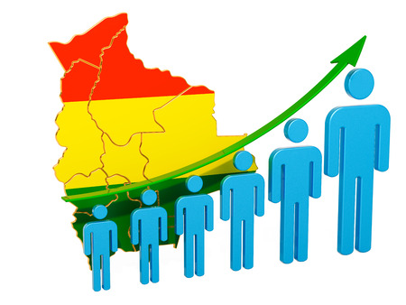 Rating of employment and unemployment or mortality and fertility in Bolivia, concept. 3D rendering isolated on white background Stock Photo