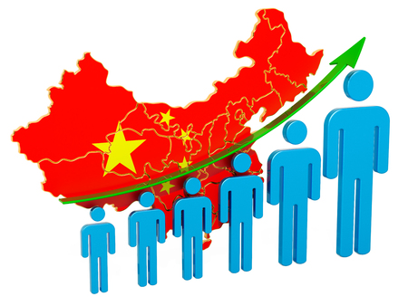Rating of employment and unemployment or mortality and fertility in China, concept. 3D rendering isolated on white background