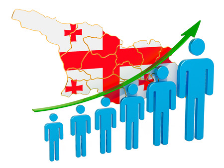 Rating of employment and unemployment or mortality and fertility in Georgia, concept. 3D rendering isolated on white background