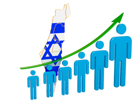 Rating of employment and unemployment or mortality and fertility in Israel, concept. 3D rendering isolated on white background