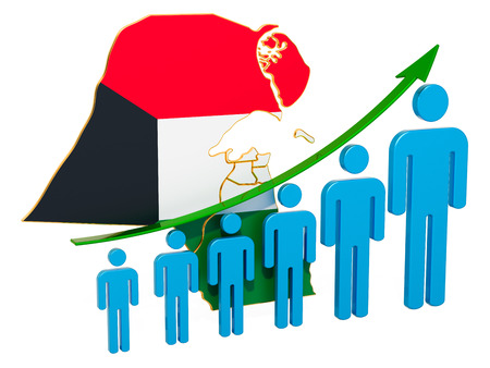 Rating of employment and unemployment or mortality and fertility in Kuwait, concept. 3D rendering isolated on white background