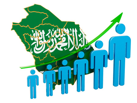 Rating of employment and unemployment or mortality and fertility in Saudi Arabia, concept. 3D rendering isolated on white background