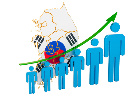 Rating of employment and unemployment or mortality and fertility in South Korea, concept. 3D rendering isolated on white background Imagens