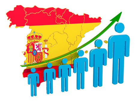 Rating of employment and unemployment or mortality and fertility in Spain, concept. 3D rendering isolated on white background Reklamní fotografie