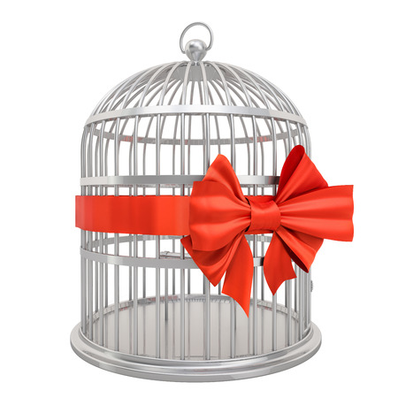 Bird cage with red bow and ribbon, 3D rendering isolated on white background Stok Fotoğraf