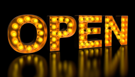 Open signboard from golden light bulb letters, retro glowing font. 3D rendering