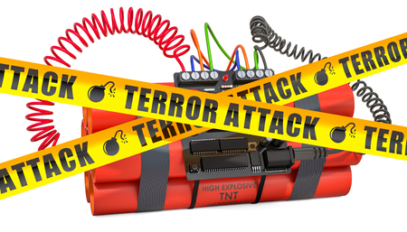 TNT bomb explosive with digital countdown timer clock and danger caution barrier tapes, 3D rendering isolated on white background Standard-Bild - 122568055