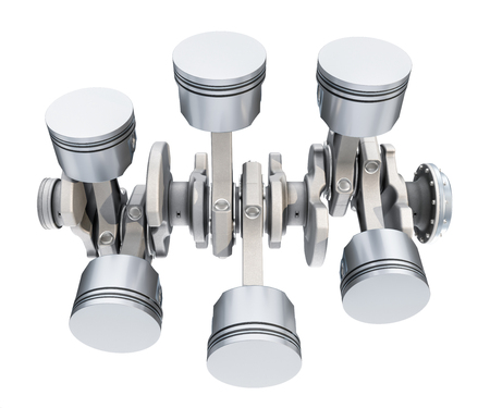 V6 engine pistons, top view. 3D rendering isolated on white background Stock fotó - 122568160