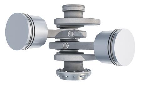 V2 engine pistons, 3D rendering isolated on white background
