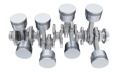 V8 engine pistons, top view. 3D rendering isolated on white background
