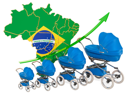 Growing birth rate in Brazil, concept. 3D rendering isolated on white background